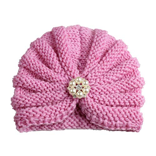 MingDe Sports Cute Winter Baby Girl Hats with Pearls Candy Knit Newborn Beanie Hat Baby Warm Cap Accessories 0-2Y ()