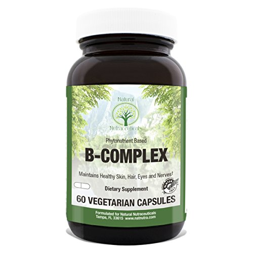 Natural Nutra Vitamin B Complex with Niacin, Folic Acid, Biotin, Whole Food Supplement, 60 Vegetarian Capsules - Folic Acid Niacin