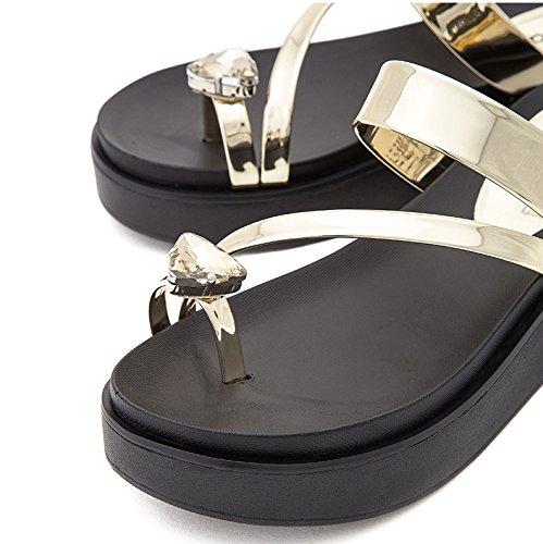 Sandali tacco con Tacchi alla a donna basso tacco Sandali 34 Oro Pantofole piatti alti Sandali basso DHG casual da estivi moda ZwTPZqWd