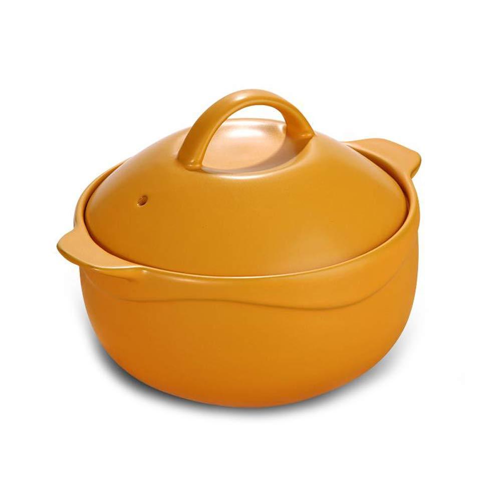 ポット - セラミックポットキャセロールスープポットシチューシチューポークポット粥ライスクッカーポットリッド 耐高温性 (色 : イエロー いえろ゜, サイズ さいず : 2.8L) B07LB18DF2 イエロー いえろ゜ 2.8L