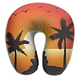 SARA NELL Memory Foam Neck Pillow Hawaii Romance Couple U-Shape Travel Pillow Ergonomic Contoured Design Washable Cover For Airplane Train Car Bus Office