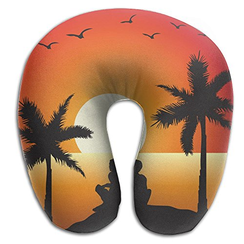 SARA NELL Memory Foam Neck Pillow Hawaii Romance Couple U-Shape Travel Pillow Ergonomic Contoured Design Washable Cover For Airplane Train Car Bus Office by SARA NELL