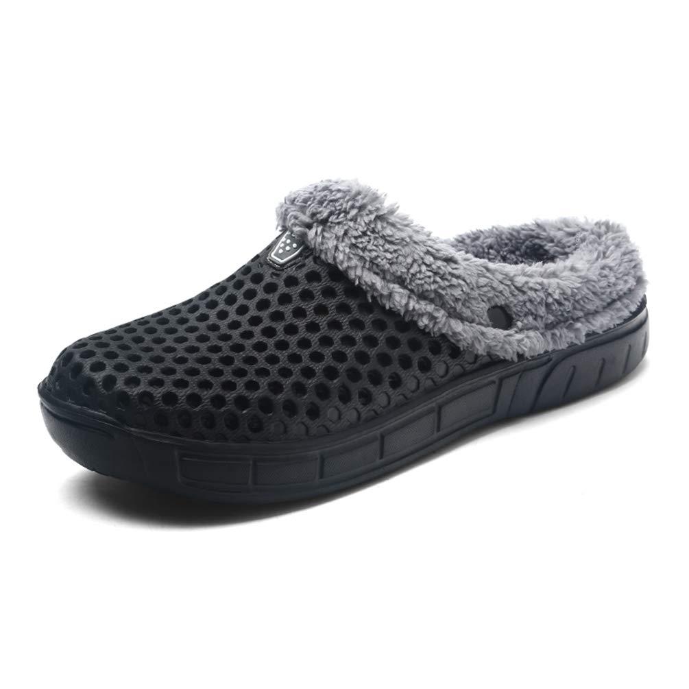 Sherry Love Men's Women's House Slippers Sticking Lining Warm Fleece Clogs Indoor Outdoor Slip On Winter Slippers -Black-41 EU