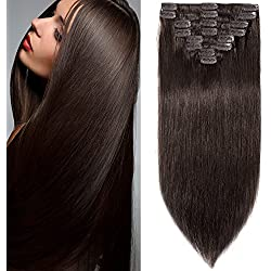 8 inch 65g Clip in Remy Human Hair Extensions Full Head 8 Pieces Set Long length Straight Very Soft Style Real Silky for Beauty #2 Dark Brown