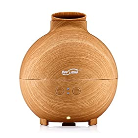 Housmile Large Essential Oil Diffuser for Aromatherapy 600ML Aroma Cool Mist Humidifier Globe - Ultra Quiet Ultrasonic Nebulizer - Last Overnight - Wood Grain