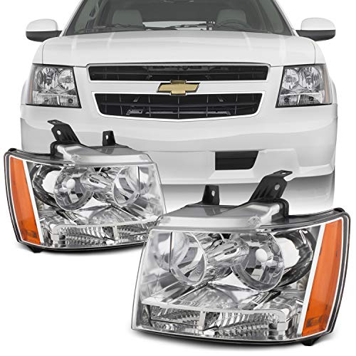 (For 07-13 Suburban Tahoe Avalanche Chrome Clear Headlights Front Lamps Direct Replacement Left + Right)