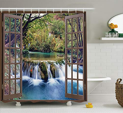 """Ambesonne Waterfall Shower Curtain, Wide Waterfall Deep Down in The Forest Seen from a City Window Epic Surreal Print, Cloth Fabric Bathroom Decor Set with Hooks, 70"""" Long, Forest Green from Ambesonne"""