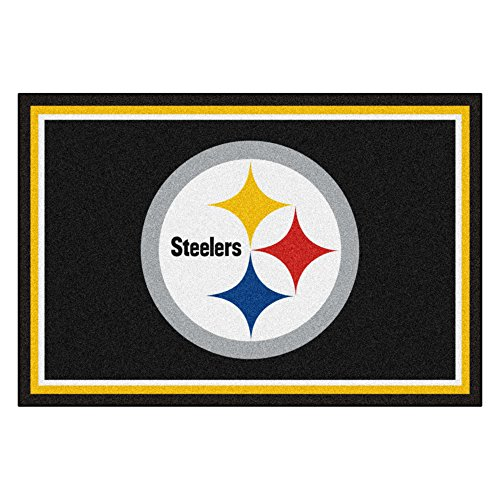(FANMATS NFL Pittsburgh Steelers Nylon Face 5X8 Plush Rug)