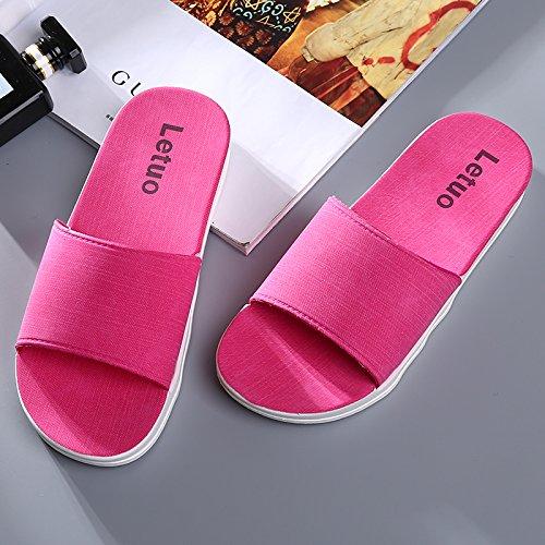Y-Hui parejas zapatillas de baño verano fondo blando engrosamiento Home zapatillas zapatillas, casa baño fresco verano zapatillas Peach red