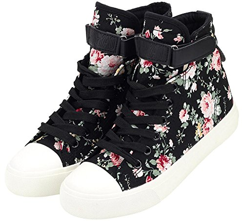 SATUKI Adult Women's Flat Floral High Top Lace up Casual Canvas Shoes Fashion Sneakers (6, Black) (Adult High Top Sneakers)