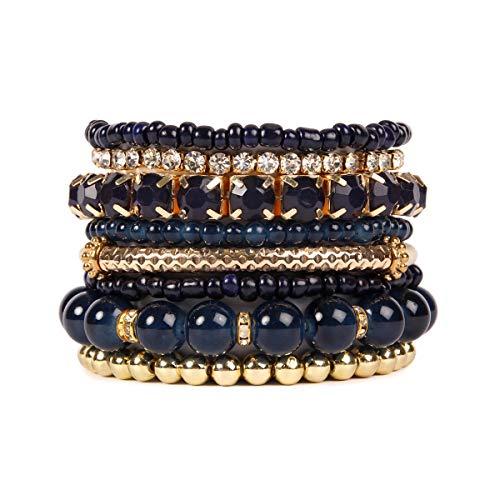 Set Stretch Bead Bracelet (RIAH FASHION Multi Color Stretch Beaded Stackable Bracelets - Layering Bead Strand Statement Bangles ([S-M] Navy))