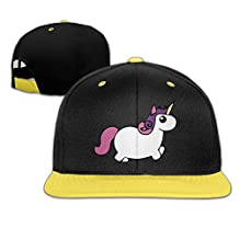Kid Cute Fat Unicorn Fitted Caps Snap Back Yellow