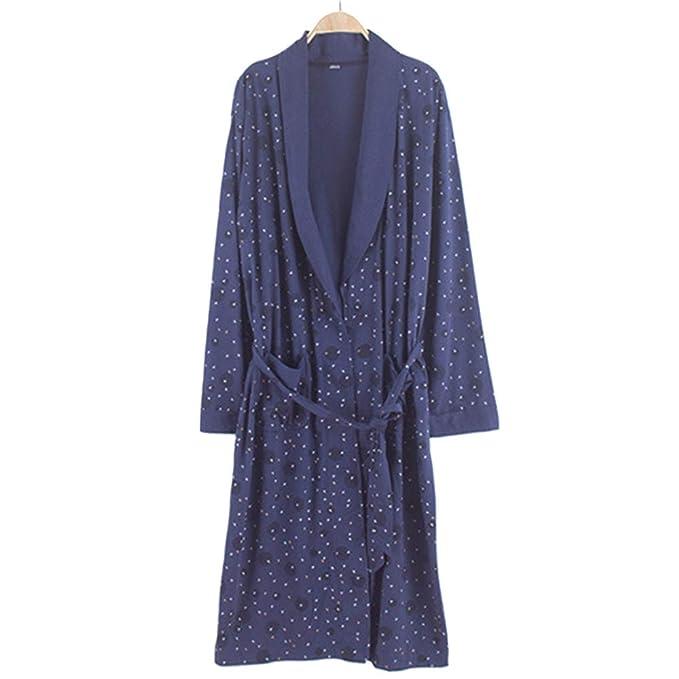 Bata De Primavera Otoño Albornoz Tejido De Algodón De Mediana Edad Kimono para Hombres Ropa De Dormir Ropa De Casa.: Amazon.es: Ropa y accesorios