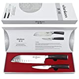 #10: Professional Santoku Chef's Knife 7 Inch,Stainless Steel High Carbon Sharp Blade For Cutting Meat,Dicing Vegetables,Chopping, Slicing,Carving Food&More,BONUS:Paring Knife,Perfect Gift Idea.