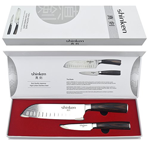 Professional Santoku Chef's Knife 7 Inch,Stainless Steel High Carbon Sharp Blade For Cutting Meat,Dicing Vegetables,Chopping, Slicing,Carving Food&More,BONUS:Paring Knife,Perfect Gift Idea.By Shinken