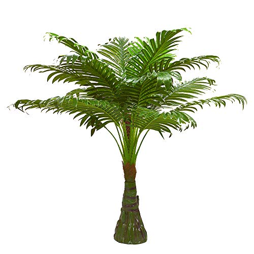 2.63-ft Artificial Palm Leaf Tree Plants Imitation Leaf Artificial Plant Green Greenery Plants Faux FakeTropical Large Palm Leaves Tree Outdoor UV Resistant Plants for Home Kitchen Party Wedding Decor (Garden Palm Flower Beach)