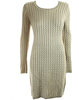 Calvin Klein Womens Cable Knit Ribbed Trim Sweaterdress