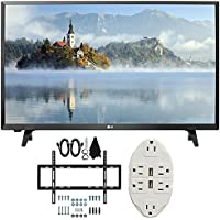 LG LJ500B Series 32 Class LED HDTV 2017 Model (32LJ500B) with Deco Mount Slim Flat Wall Mount Ultimate Bundle Kit for 32-60 inch TVs & Stanley Transformer Tap USB w/ 6-Outlet Wall Adapter