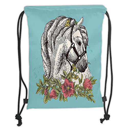 Opium Satin - Custom Printed Drawstring Sack Backpacks Bags,Floral,Boho Style Horse Opium Blossoms Poppy Wreath Equestrian Illustration,Turquoise Apple Green Soft Satin,5 Liter Capacity,Adjustable String Closure,Th