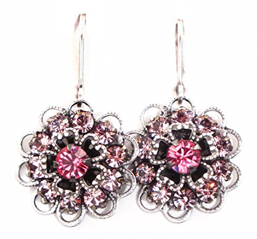 Clara Beau Pink Rose and Light Rose Swarovski crystal SilverTone Filigree earrings EP191 S Swarovski Crystal Crown Earring