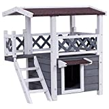 BUY JOY 2-Story Outdoor Weatherproof Wooden Cat House Condo Shelter with Escaping Door