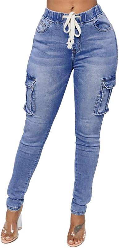 Hx Fashion Jeans Pantalones Mujer Elastica Cintura Alta Cintura Estiramiento Pantalones Tamanos Comodos Casuales Elegantes Con Bolsillo Lateral Slim Fit Vintage Denim Pants Amazon Es Ropa Y Accesorios