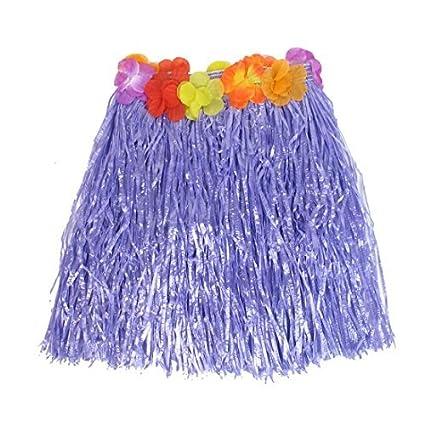 Señora Flores de Halloween decoración Hawaiian Hula falda de hierba púrpura XS (US.0