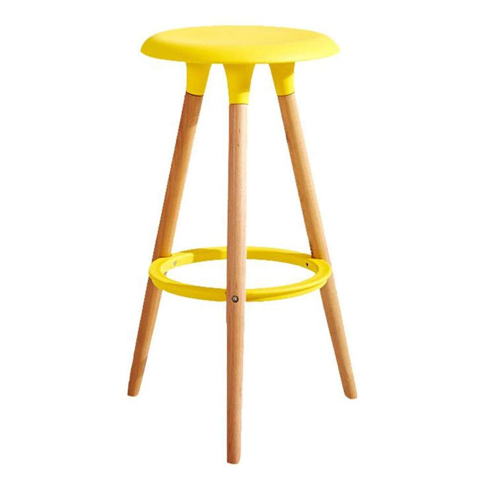 Yellow Dall Bar Stool Solid Wood Restaurant Home High Stool PP Seat Modern Household Assembly 47×47×76cm, 6 colors (color   Red)