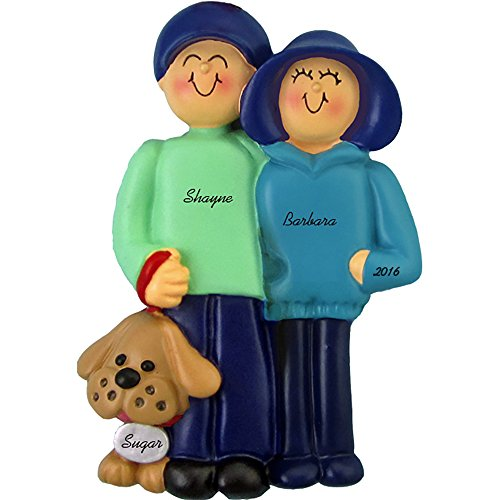 Calliope Designs Family and Dog Personalized Christmas Ornament (Family of 2) - Handpainted Resin - 4