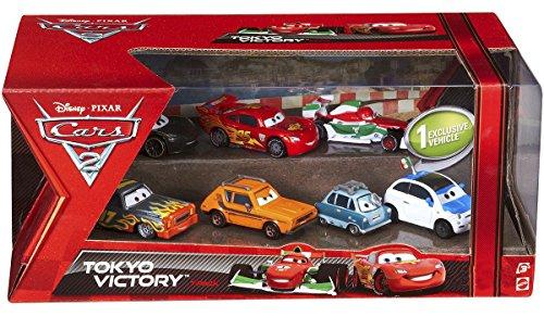 Disney Pixar Cars 2 Movie 7 Pack Set Radiator Springs 1:55 Scale Mattel Lewis Hamilton, Lightning Mcqueen Sally, Jeff Gorvette, Ferrari Fan Luigi, Ferrari Fan Guido, Exclusive Edition Hydraulic Ramone Radiator Springs