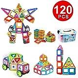 120 PCS Magnetic Building Blocks Toys Magnet Stacking Bricks Tiles Kids