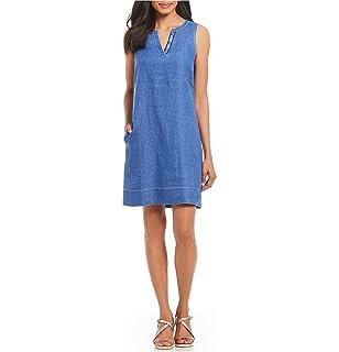 b77125f382f Tommy Bahama Women s Monstera Mash Embroidered Linen Shift Dress ...