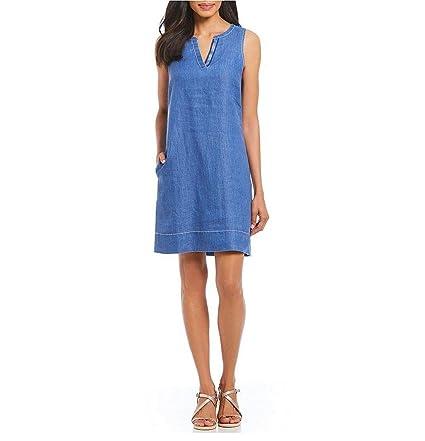 0d862a1b7a0 Tommy Bahama Women s Sea Glass Linen Shift Dress (Dark Cobalt
