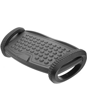 PrimeMatik - Reposapiés con plataforma ajustable de plástico negro 310 x 220 mm