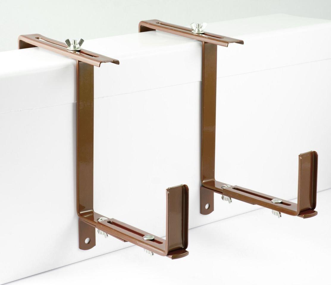 Menz Flower box holder, adjustable, 1 pair, brown, for flower boxes adjustable 14-21 cm wide, with adjustable support Menz Stahlwaren