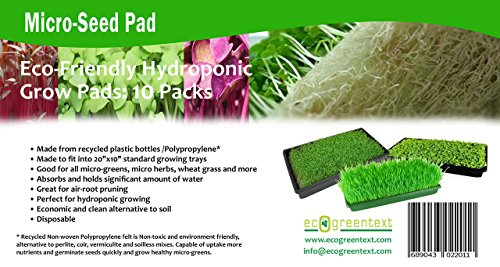 Micro-Seed Pad, Hydroponic Micro Grow Mats, Eco-Friendly Microgreens and Micro Herbs Grow Pads, 10 Pack of 10 x 20 by EcoGreenText