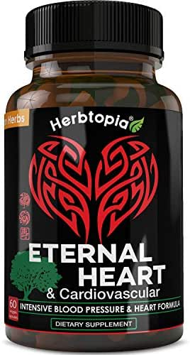 Eternal Heart High Blood Pressure Support Supplement for Heart Health - Lower BP Naturally, Boost Blood Flow, Cholesterol Lowering w/Dan-Shen Extract, CoQ10, Vitamin K2 Mk7, Hawthorn, Olive Leaf