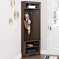 Corner Hall Tree Bench with Storage Shelf and Shoe Rack, 4 Fixed Hooks, Adjustable Shelf, Saves Space, Ideal for Entryway, Small Spaces, Mudroom, Espresso Finish + Expert Guide