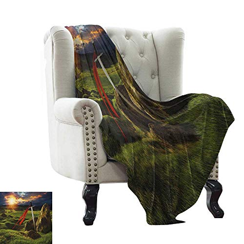 warmfamily King,Weave Pattern Extra Long Blanket,Arthur Camelot Legend Myth in England Ireland Fields Invincible Myth Image 60