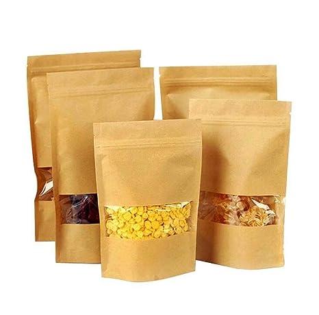 Dproptel 50 bolsas de papel kraft reutilizables con cierre ...