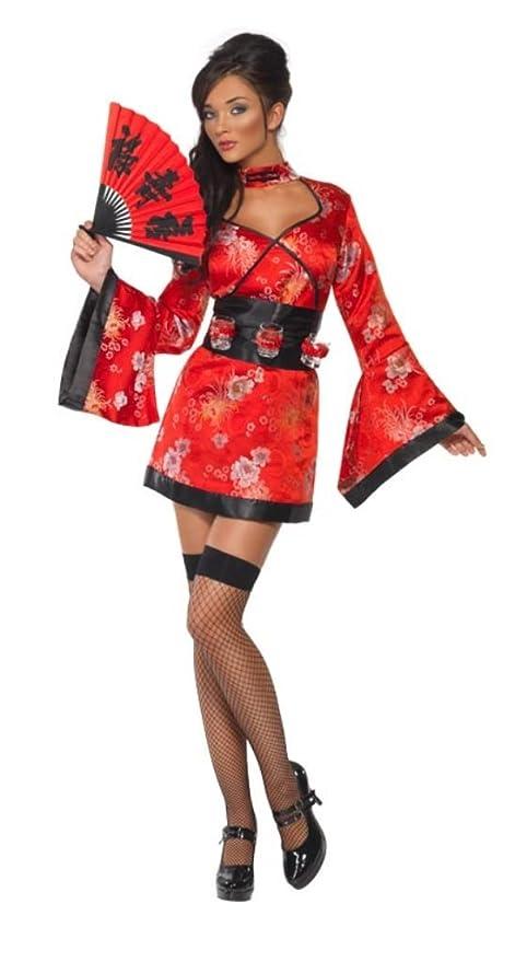 SmiffyS 20559S Disfraz De Geisha Del Vodka, Vestido Y Cinturón Con Soporte Para Vasos De Chupit, Rojo, S - Eu Tamaño 36-38