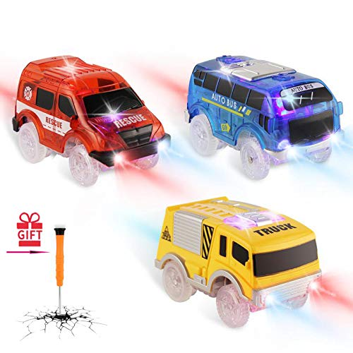 Track Cars Replacement, Toy Cars for Magic Tracks Glow in the Dark, Racing Car Track Accessories with 5 Flashing LED Lights, Compatible with Most Tracks for Kids Boys and Girls(3pack)