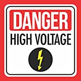 6 Pk Danger High Voltage Print Red White Black Lightning Bolt Caution Notice School Public Office Business Signs, 12x12
