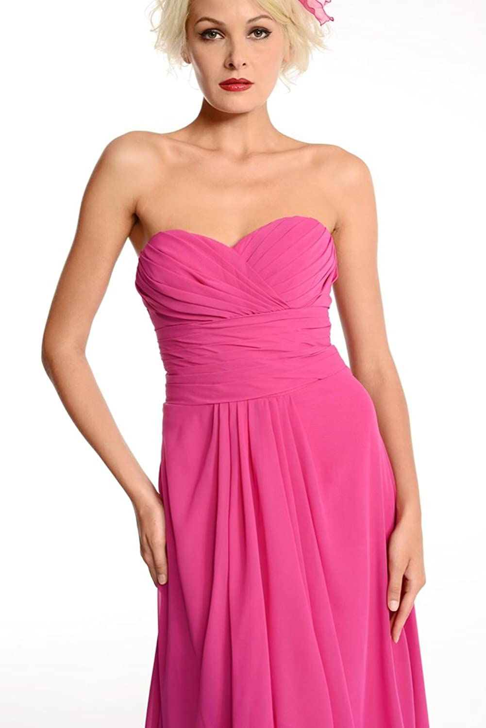 Amadeo Drapped Chiffon Floor Length Pink Bridesmaid Dress LF007