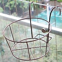Iron balcony wall hanging / flower pot rack / railings hanging flower rack / outdoor fence window frame ( Color : Bronze )