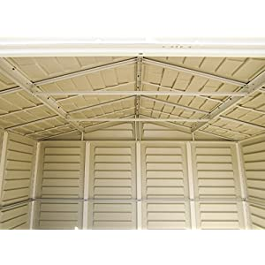 Duramax-WoodBridge-Plus-105-x-8-Plastic-Garden-Shed-with-Foundation-Kit-Fixed-Window-Ivory-Brown-15-Years-Warranty