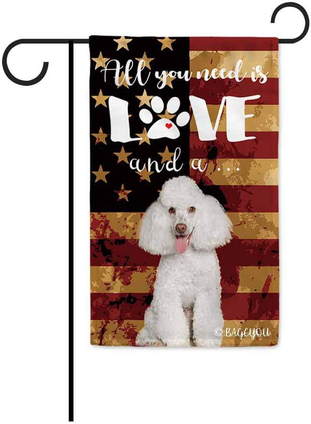BAGEYOU All You Need is Love and a Dog Poodle Decorative Garden Flag for Outside Cute Puppy Paws with America Flag Patriotic Banner 12.5X18 Inch Printed Double Sided