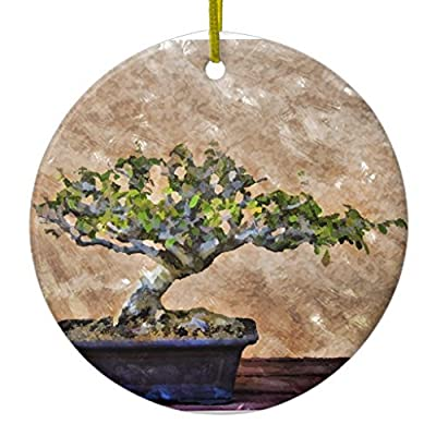 Fhdang Decor Christmas Hanging Ornament Bonsai Tree Ceramic Ornament Circle: Home & Kitchen