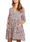 Happy Sailed Women Leopard Casual Loose Pocket Loose Shift Dress Short Sleeve Button Down Tunic Shirt Mini Dresses Medium Pink