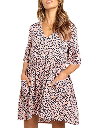 FIYOTE Women Summer Half Sleeve Button Front Leopard Tunic Dress V Neck Loose Swing Dresses Medium Size Pink ()